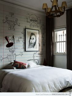 Robots Design... I like the balance of fun and whimsy with a sophisticated neutral palette for a kid's room