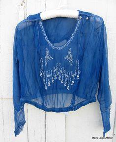 Azure Blue Silk Flapper Blouse