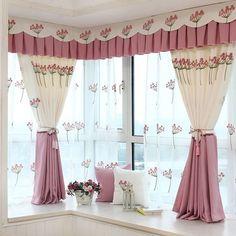 cortina de cocina en tono pastel