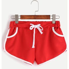 Red Contrast Trim Drawstring Shorts ($9.99) ❤ liked on Polyvore featuring shorts, red, stretch shorts, red shorts, loose shorts, draw string shorts and loose fit shorts