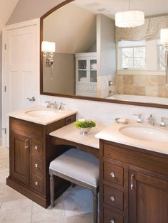 double sink vanity with makeup counter. cool Getting Creative With Bathroom Vanity Makeup Counter House Tour  Master counter Double vanity and