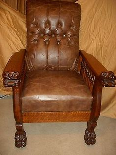 Antique 1880s Victorian Oak Morris Chair W Rolled Arms