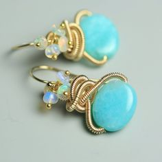 Amazonite Earring Gold Fill Freeform Coils and by fussjewelry