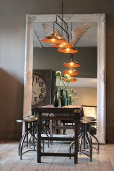 Large Decorative Mirror with industrial elements