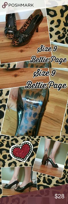 Bettie Page Leopard Kitten Heels pinup rockabilly Size 9. Excellent condition. Bettie Page Shoes Heels