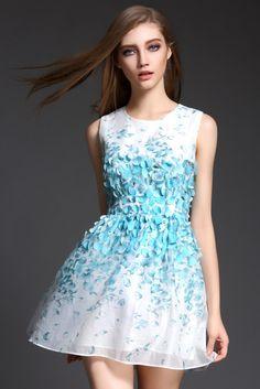034d2141ee8d Petals Beading Printed Sleeveless Vest Dress