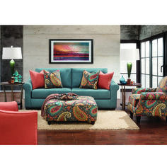 We covered our Pacific Paisley Sofa in a soft blue tone and added plenty of colorful pillows for your comfort that will blend into any color scheme. With two extra wide seat cushions, there is plenty of room for your family to relax. Coral Furniture, Fine Furniture, Furniture Decor, Living Room Furniture, Furniture Mall Of Kansas, Colorful Pillows, Contemporary Sofa, Affordable Furniture, Chair And Ottoman