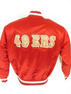 Vtg 80s Starter San Francisco 49ers NFL Red Shiny Satin Jacket Mens L [G93V 1lb 10oz]