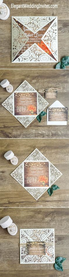$300 for 100 sets of invitations - Rustic Stringlights Maple Leaf Laser Cut Wedding Invitations With Twines EWWS096 #rusticwedding #weddinginvitations #elegantweddinginvites