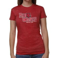 Arkansas State Red Wolves Ladies Distressed Primary Junior's Tri-Blend T-Shirt - Scarlet