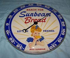 """Sunbeam Bread Vintage Thermometer (Old 1957 Antique Bakery Advertising 12"""" Round Metal Sign)"""