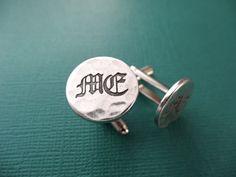 Personalized Cufflinks  Initials  Old English  Hammered