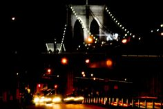 An artsy picture of the Brooklyn Bridge by night, on its 125th anniversary, Brooklyn, New Yrok.