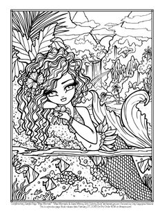 All Ages Adult Coloring Books Fantasy Art by Hannah Lynn Blank Coloring Pages, Coloring Pages For Grown Ups, Mermaid Coloring Pages, Free Adult Coloring Pages, Printable Coloring Pages, Coloring Books, Hannah Lynn, Creation Art, Christmas Coloring Pages