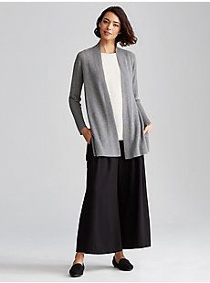 Straight Long Cardigan in Sleek Tencel Merino Rib | EILEEN FISHER