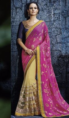 Fuse aesthetic styles with elaborate designs with this magenta and cream color net chiffon half n half sari. The attractive lace and resham work a intensive characteristic of this saree. #latestcollectionsari #eveningwearsaress #partylooksaris