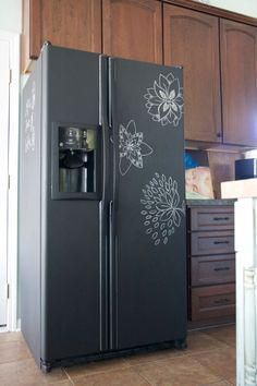 Add a whole new level of creativity to the kitchen with chalk paint on your refrigerator! How cool is this? | chalkboard art