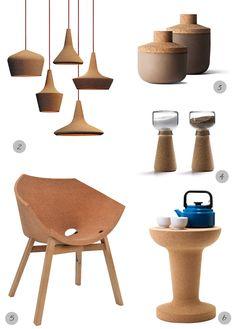 cork furniture & home accessories via Happy Interior Blog