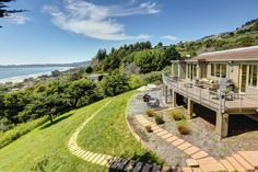 Stunning contemporary above Stinson Beach CA with a view of the Pacific Ocean