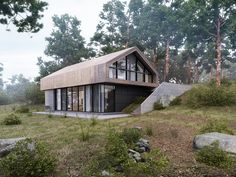 // Forest House Visualisation by Aleksandra Nuzhnaya Modern Barn House, Modern House Design, Future House, House Cladding, Steel Frame House, Design Exterior, Forest House, House In The Woods, Building A House