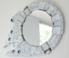 Mirror mirror on the wall, who's the fastest ship of them all? Why, the Millennium Falcon of course! Each one of these geeky Millennium Falcon mirrors are hand-made and hand-painted, and make an excellent gift for the Star Wars fan who appreciates fine cr Decoration Star Wars, Star Wars Decor, Star Wars Zimmer, Funky Mirrors, Star Wars Bathroom, Nerd Decor, Star Wars Vii, Star Wars Room, Star Wars Merchandise
