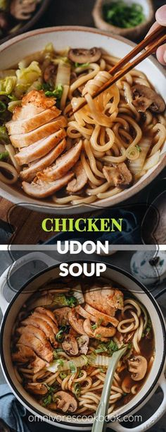 Chicken Udon Soup (鸡肉乌冬面) Chicken Udon Soup - A super easy one-pot noodle soup recipe that guarantees maximum flavor with beautifully seared chicken, rich soup, thick noodles, and tender veggies. Side Dish Recipes, Soup Recipes, Vegetarian Recipes, Chicken Recipes, Cooking Recipes, Healthy Recipes, Vegetarian Dinners, Vegetarian Soup, Recipe Chicken