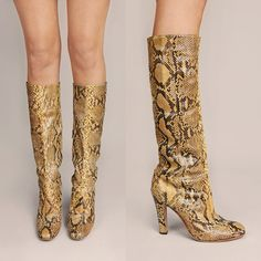 Vintage 70's Authentic Phyton Skin Knee High Boots 8.5 High Heel Boots, Heeled Boots, Vintage 70s, Vintage Ladies, Python Snake, Yellow Boots, Leather Label, Snake Skin, Stiletto Heels