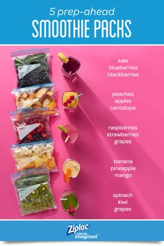 5 Prep-Ahead Freezer Smoothie Packs Get set up for super speedy morning meal prep. These 5 simple smoothie recipes can be prepped ahead for a quick breakfast or easy snack idea Freezer Smoothie Packs, Easy Smoothie Recipes, Easy Smoothies, Diet Recipes, Cooking Recipes, Healthy Recipes, Shake Recipes, Breakfast Smoothies, Smoothies For Weight Loss