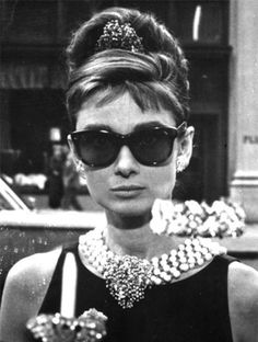 "Wayfarer-style Oliver Goldsmith ""Manhattan"" sunglasses on Audrey Hepburn in Breakfast at Tiffany's"
