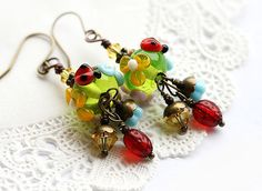 Flower glass earrings with ladybugs  green spring by MayaHoney, $24.50