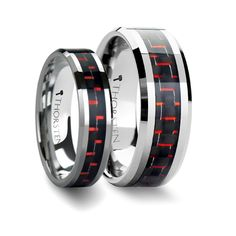 Matching Anniversary Ring Set Tungsten Band Inlaid with a Black & Red Carbon Fiber Ring - 6mm & 8mm