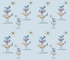 Seashore Birds Family on Blue fabric by therustichome on Spoonflower - custom fabric