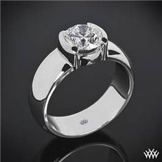Heavy Half-Bezel Solitaire Engagement Ring.