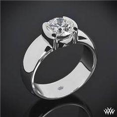 Heavy Half-Bezel Solitaire Engagement Ring.