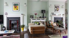 Quirky designer living room in mint green