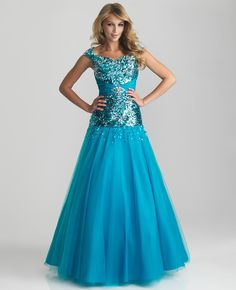 Turquoise Sequin & Tulle Drop Waist Lace Up Modest Prom Gown - Unique Vintage - Cocktail, Pinup, Holiday & Prom Dresses.