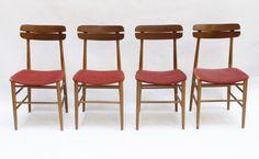 set of four Italian armchair, wood, 1960 - Uso Interno