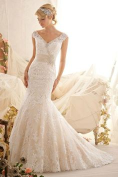 $257.08 Beautiful V Neck Mermaid Beads Applique Floor Length Wedding Dress