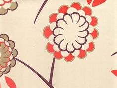 Birdtree Wallpaper Contemporary floral wallpaper in red, grey and gold on cream…