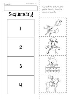 Humpty Dumpty Worksheets and Activities. Cut and paste sequencing activity.