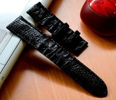 22mm Genuine Black Alligator Crocodile Leather by SobekAlligator