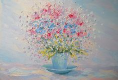 Violet in Blue Cup Oil Painting Impasto Still Life by FrozenLife