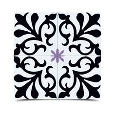 Pack of 12 Tazarine Black and Purple Handmade Cement and Granite 8-inch Floor and Wall Tile (Morocco) - Overstock Shopping - Great Deals on Accent Pieces