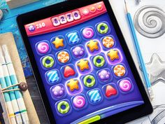 iOS Game / designed by Mike Game Design, Design Ios, Graphic Design, Candy Games, Match 3 Games, Little Games, Ipad, User Interface Design, Game Ui