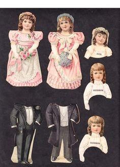 BRIDAL PARTY Partial Set Paper Dolls Clark's ONT Spool Cotton Thread 1890's (01/13/2013)