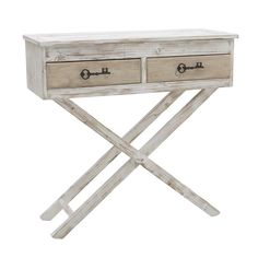 WOODEN CONSOLE TABLE IN WHITE/BEIGE COLOR 82Χ32Χ80 - Drawers - Consoles…