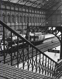 """""""Looking down on Victoria Station, from the passenger footbridge, Photographer unknown. Nottingham Station, Nottingham City, Old Train Station, Train Stations, Scale Model Architecture, Steam Trains Uk, Level Design, Disused Stations, Trains"""