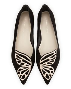 Sophia Webster Papillon Butterfly Flats in black suede with rose gold embroidery - Commandress
