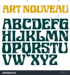 Find Art Nouveau Font Decorative Vector Type stock images in HD and millions of other royalty-free stock photos, illustrations and vectors in the Shutterstock collection. Hand Lettering Alphabet, Cool Lettering, Lettering Styles, Alphabet Letters, Art Nouveau Pattern, Art Nouveau Design, Fonte Alphabet, Art Nouveau Tattoo, Nouveau Logo