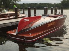 """GULL LAKE CLASSIC BOAT SHOW 2015 ~~ """"Rocketeer"""" is a very rare 1948 23-foot Ventnor Boat Company classic powered by twin Greymarine Fireball 145HP engines – owned by Kermit Sutton from nearby Whitefish Lake."""
